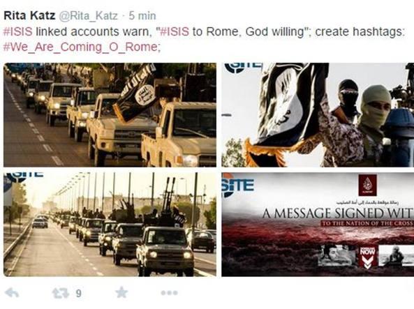 Site rivela: Isis lancia un nuovo hashtag: «Stiamo arrivando a Roma»