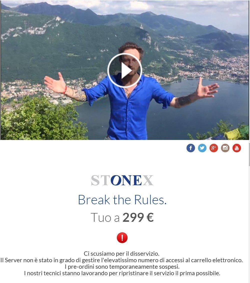 Bloccato il server del sito del nuovo smartphone tutto italiano Stonex One: troppi pre-order!