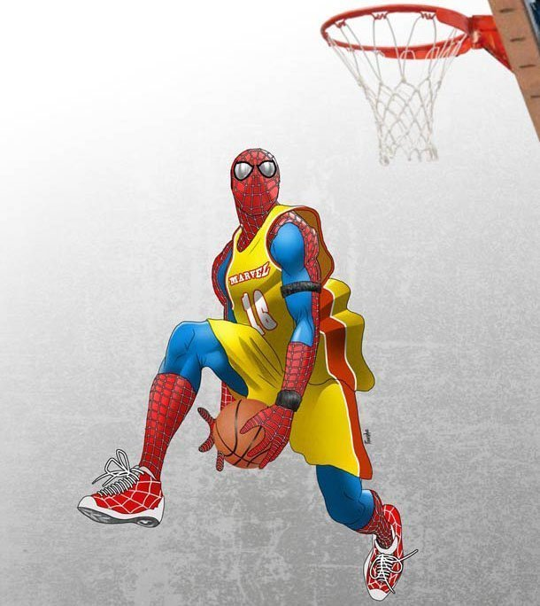 Spiderman gioca a basket