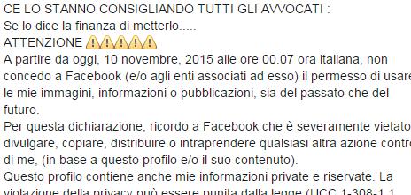 La bufala su Facebook: …CE LO STANNO CONSIGLIANDO TUTTI GLI AVVOCATI